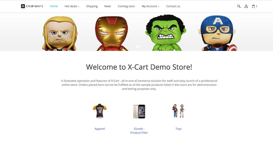 X-Cart Storefront Homepage