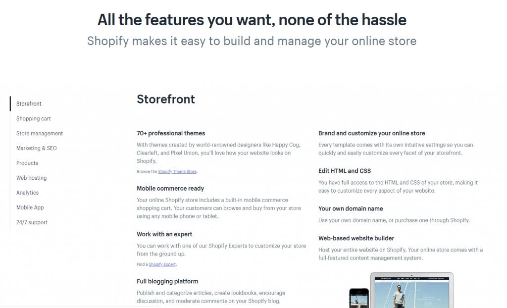 Shopify Features Ecommerce Platform