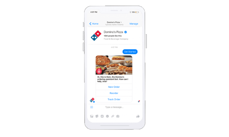 Dominos Chatbot Ecommerce